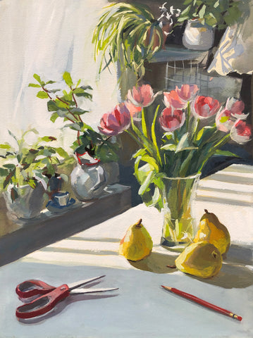 Tulips in Afternoon Light - Original Gouache Painting