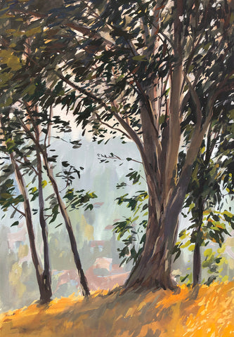 Between the Eucalyptus Trees - Original Gouache Painting
