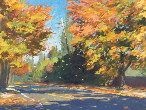 Autumn on Oak Grove - Original Gouache Painting