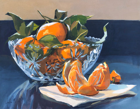 Mandarins in Crystal - Original Gouache Painting