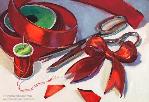 Sewing Bows - Original Gouache Painting