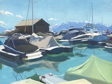 Boats on Lake Tahoe - Original Gouache Painting