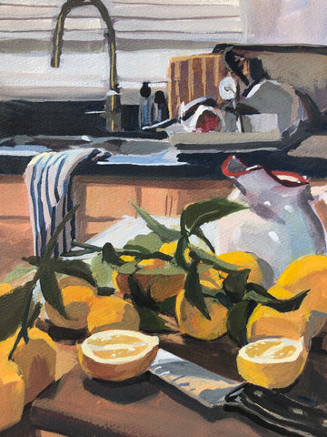 Kitchen Lemons - Original Gouache Painting