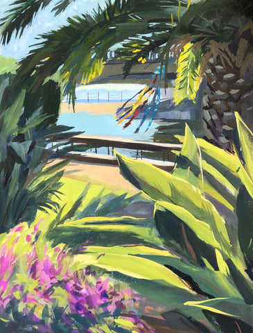 Tropical Capitola - Original Gouache Painting