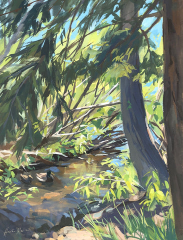 Lake Tahoe Tributary - Original Gouache Painting