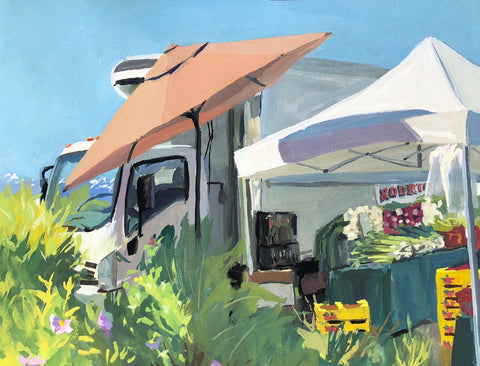 Tahoe City Farmer's Market - Original Gouache Painting - Quick Draw Winner