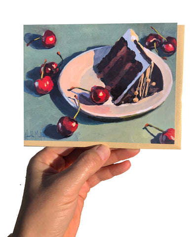 Chocolate Cake and Cherries Card