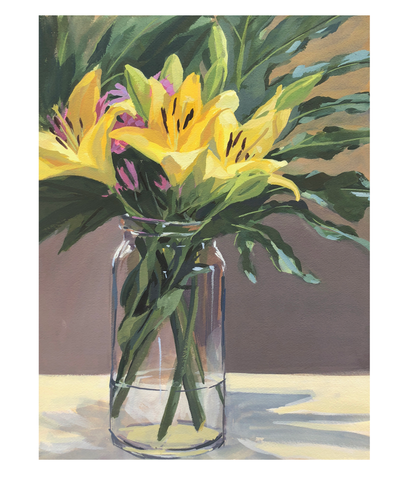 Yellow Lilies - Original Gouache Painting