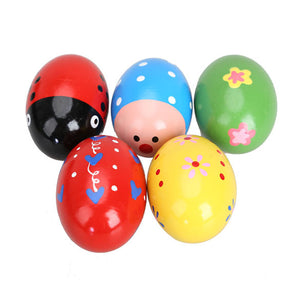 5PC Colorful Wooden Egg Shaker