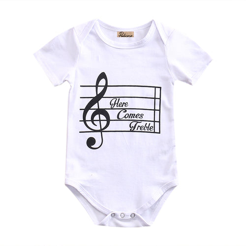 0-24M Music Cotton Baby Short Sleeve Bodysuit
