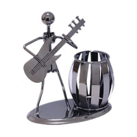 Music Iron Man Art Steel Pen Container Holder Pencil Cup Pot Secretary Desktop Music Decoration Toy Gift