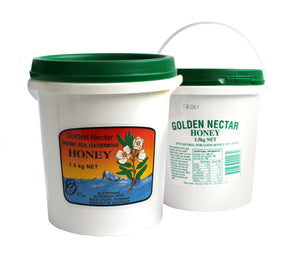 Golden Nectar Tasmanian Leatherwood honey, organic, R Stephens, 1.5 kg tub