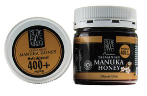 Manuka honey 400+, Tasmanian, Blue Hills, 250gms jar