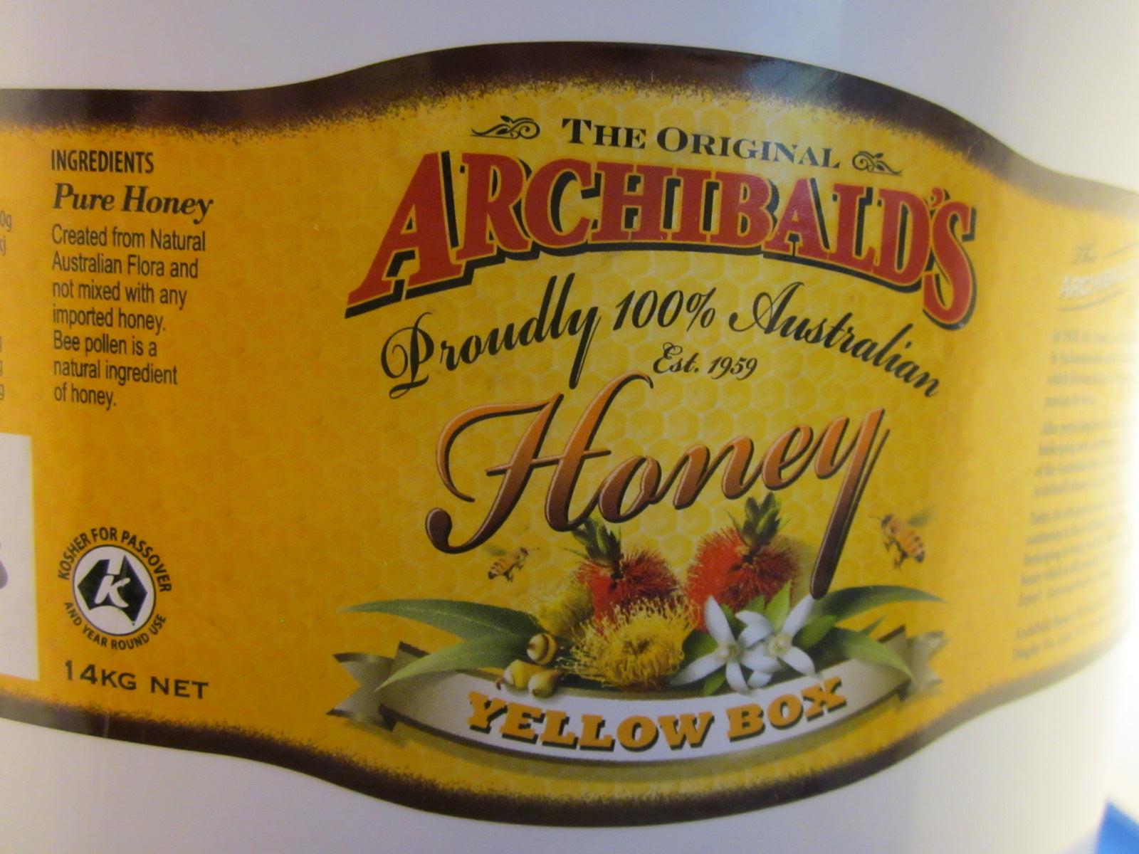 Yellow box (eucalyptus) honey, Archibalds, 14kg tub