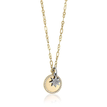 PAVE DISC + MINI STARBURST NECKLACE