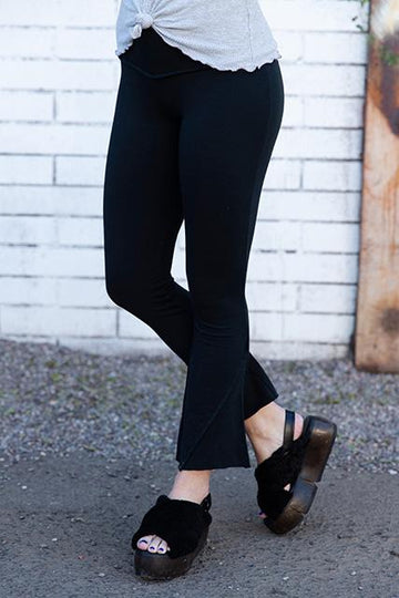 FRENCH TERRY FLARED PANT - BLACK