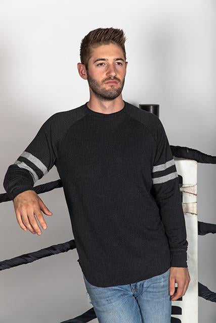 MODAL FRENCH TERRY VARSITY SWEATSHIRT - BLACK/HEATHER GRAY