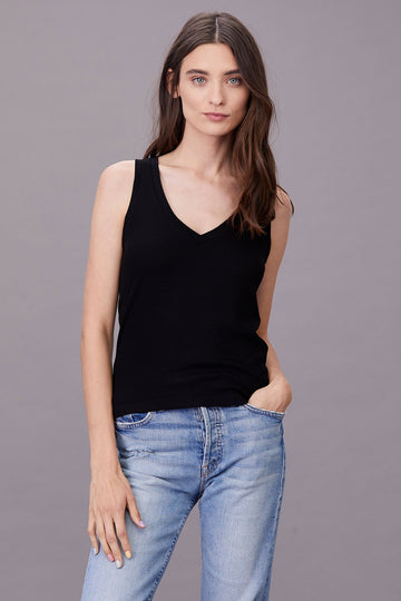 RIBBED V SLIM TANK 2X1 RIB - BLACK