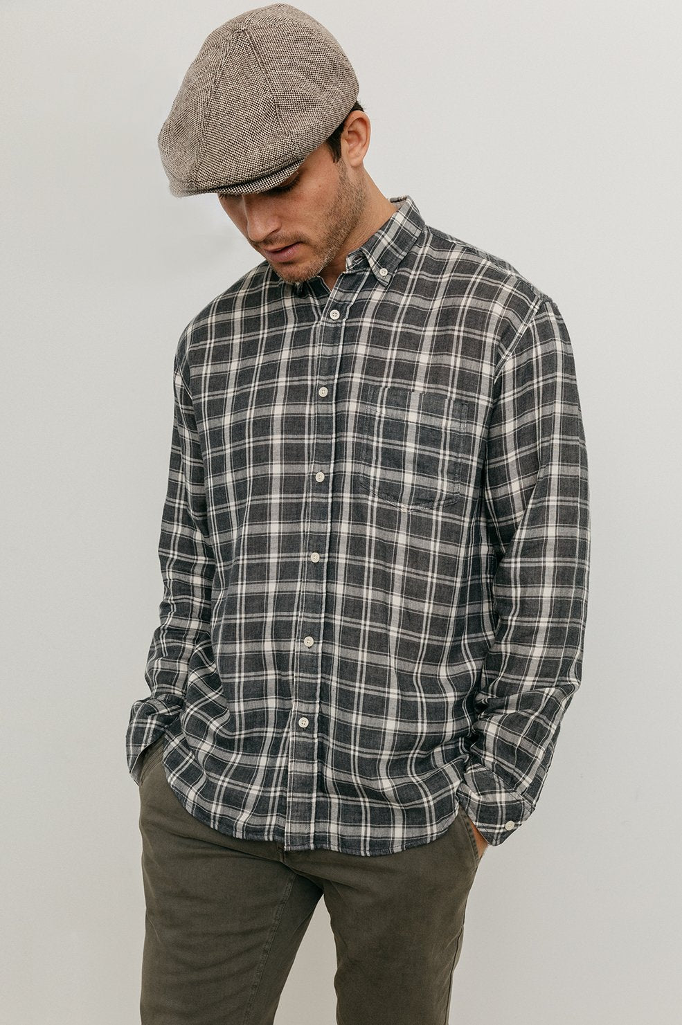 CONNOR SHIRT - CHARCOAL CREAM