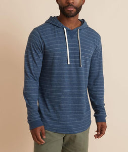 DOUBLE KNIT PULLOVER HOODIE - NAVY/WHITE STRIPE