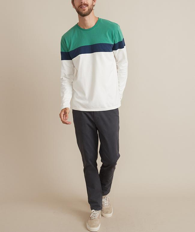 JACOB L/S CREW - PINE/NAVY/NATURAL