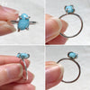 Blue Larimar Silver Rings (Prong setting)