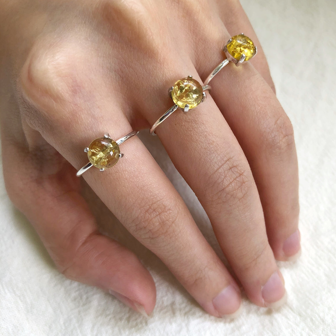 Baltic Lemon Amber Silver Rings (Prong setting)