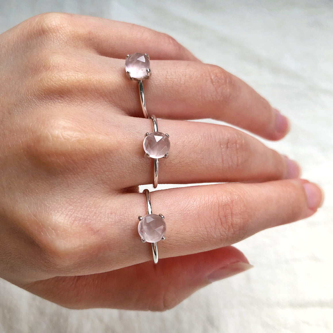 Rose Quartz Silver Rings (Prong setting)