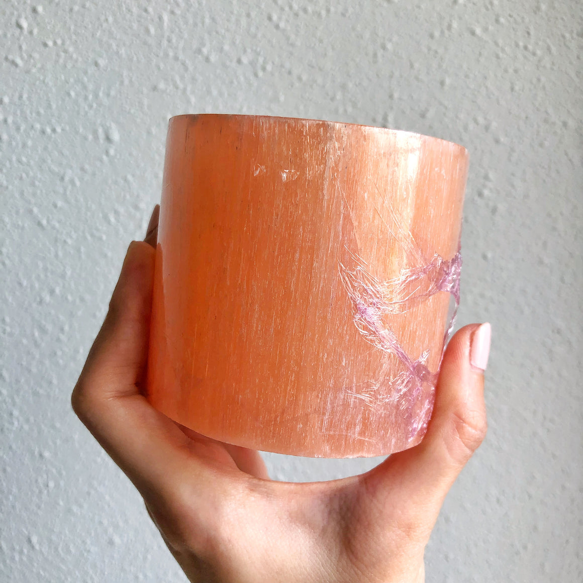 Peach Selenite Polished Candle Holder