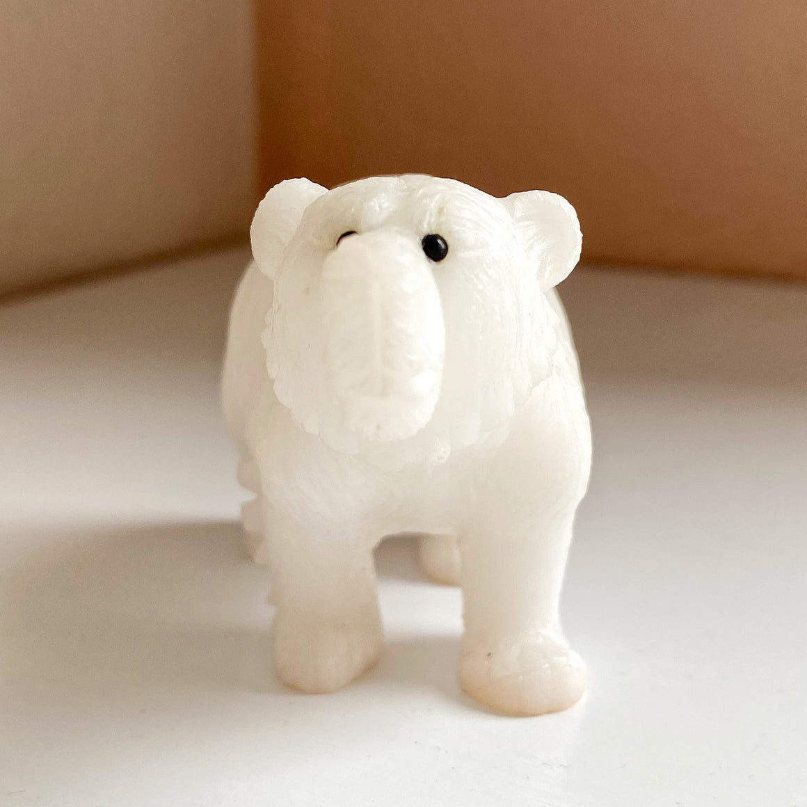 White Marble Bear Carving WM001
