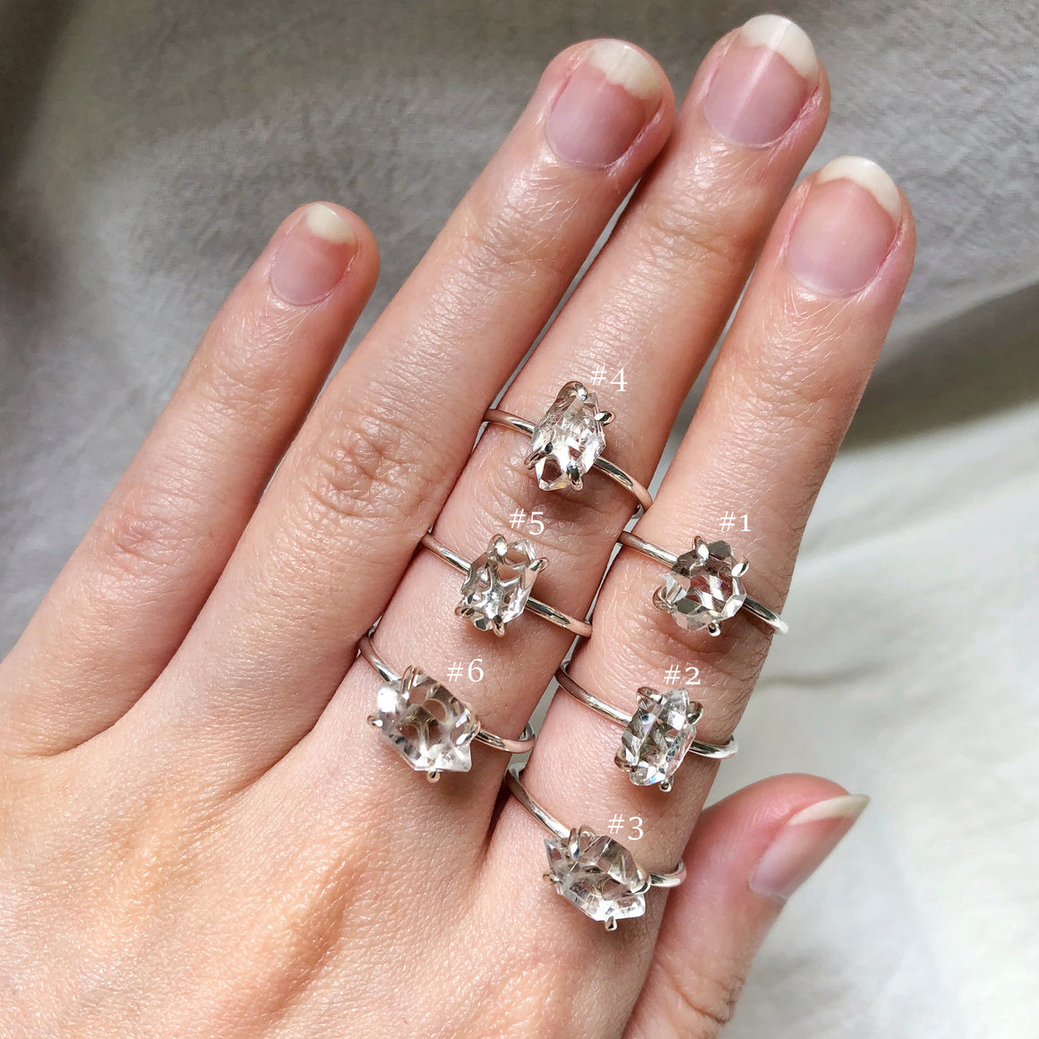 Herkimer Diamond Silver Rings (Prong setting)