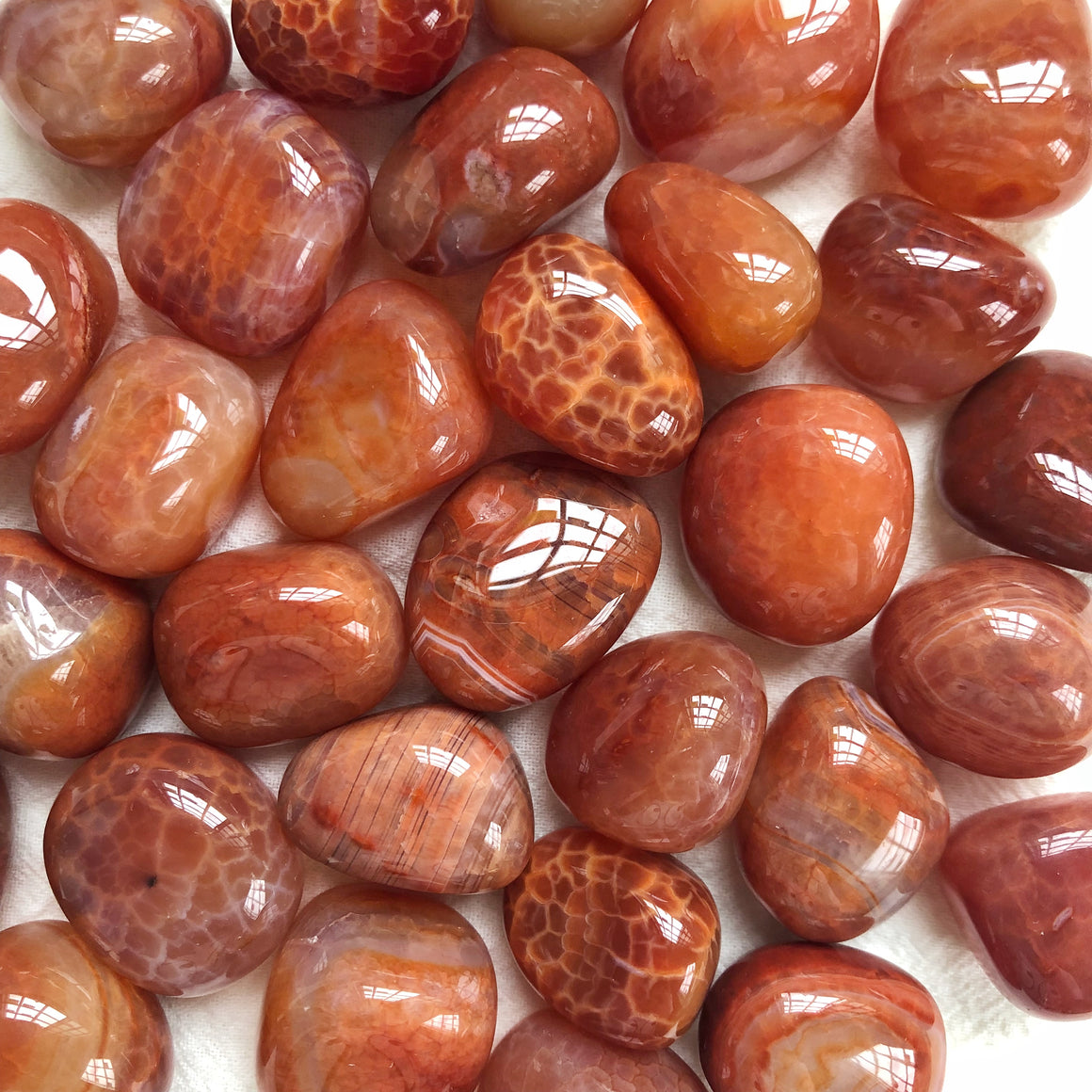 Crackled Carnelian Tumbled Stones