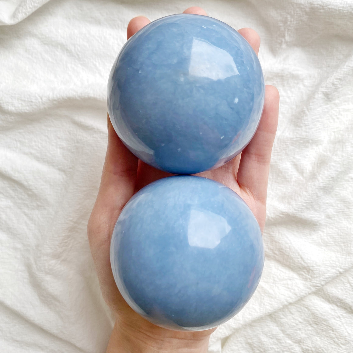 Angelite Polished Spheres (62-64mm)