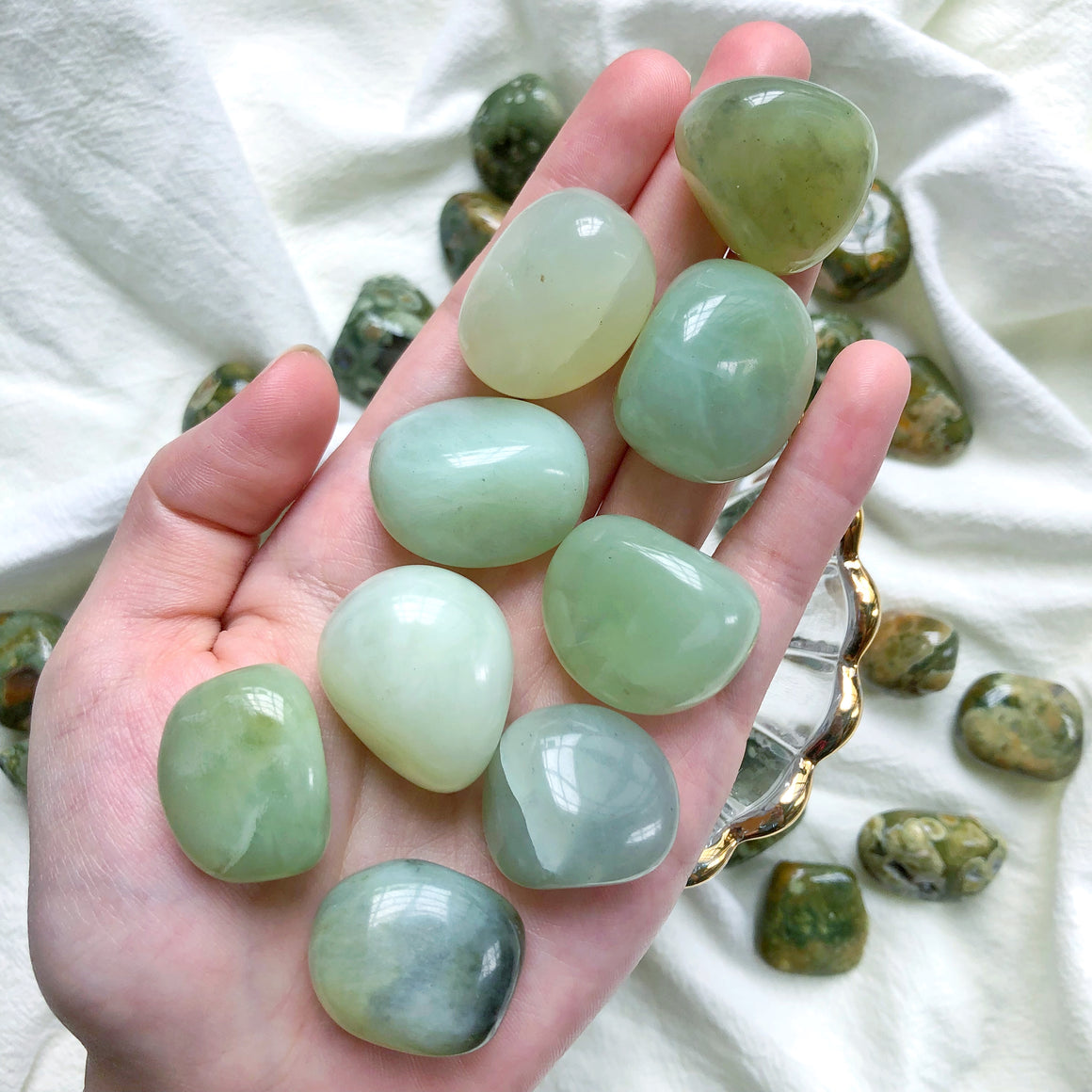 New Jade (Serpentine) Tumbled Stones