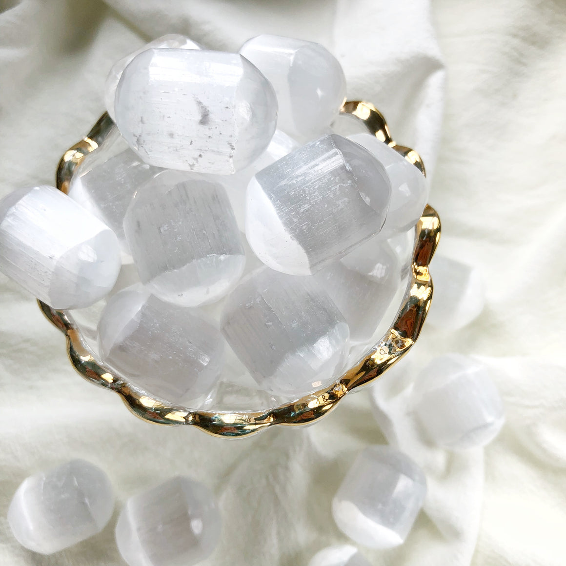 White Selenite Tumbled Stones