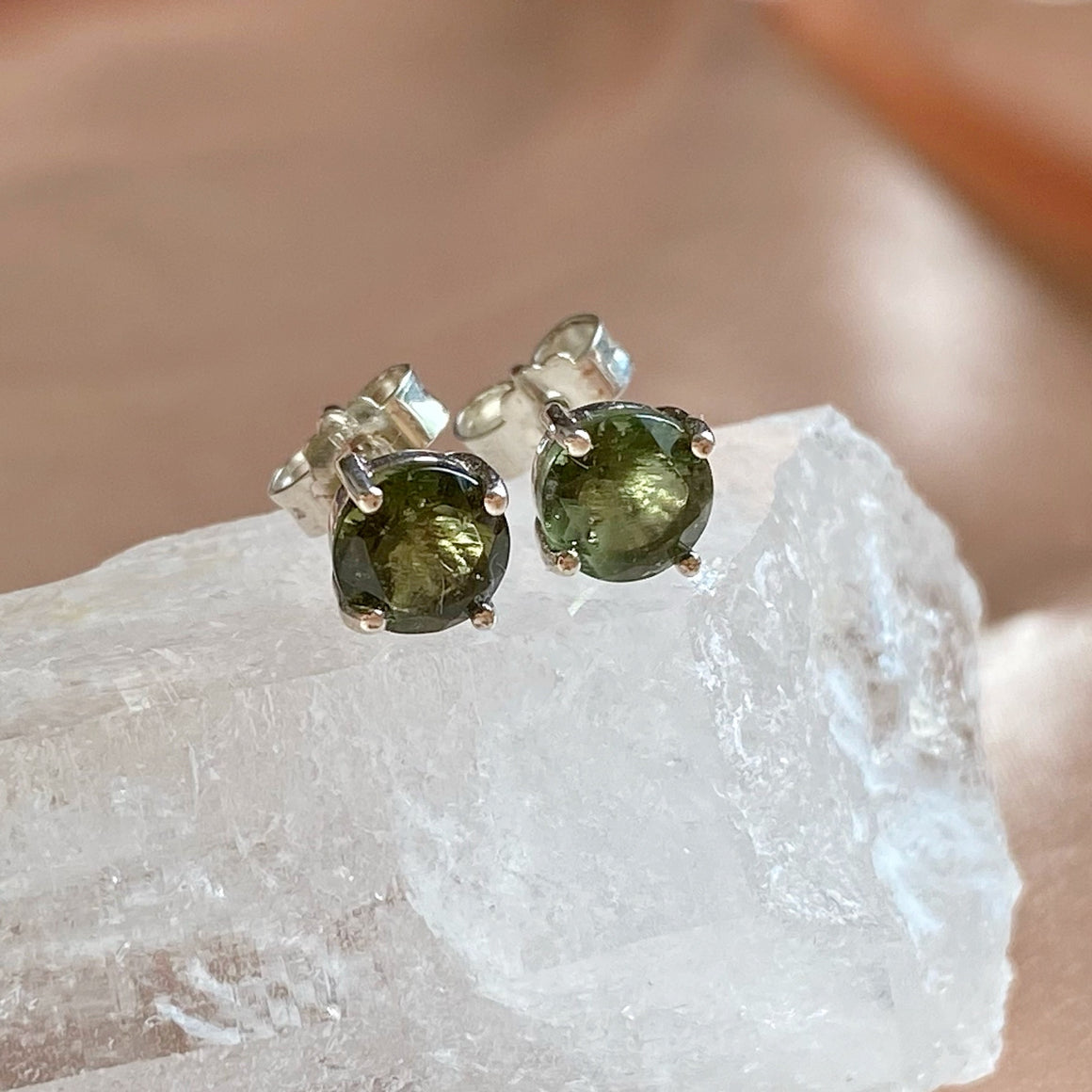 Faceted Moldavite (5mm) 925 Silver Ear Studs