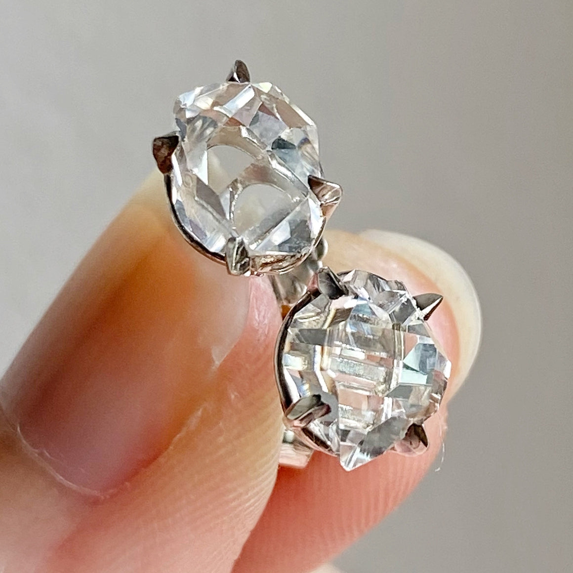 Raw Herkimer Diamond 925 Silver Ear Studs