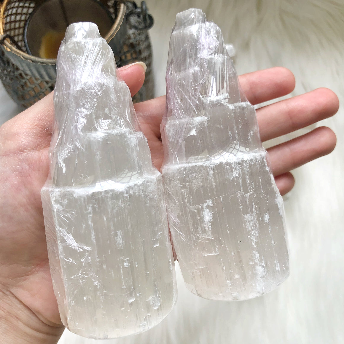 White Selenite Skyscraper Tower