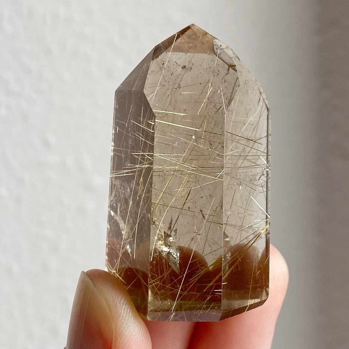Golden Rutile in Smoky Quartz Point RQP63