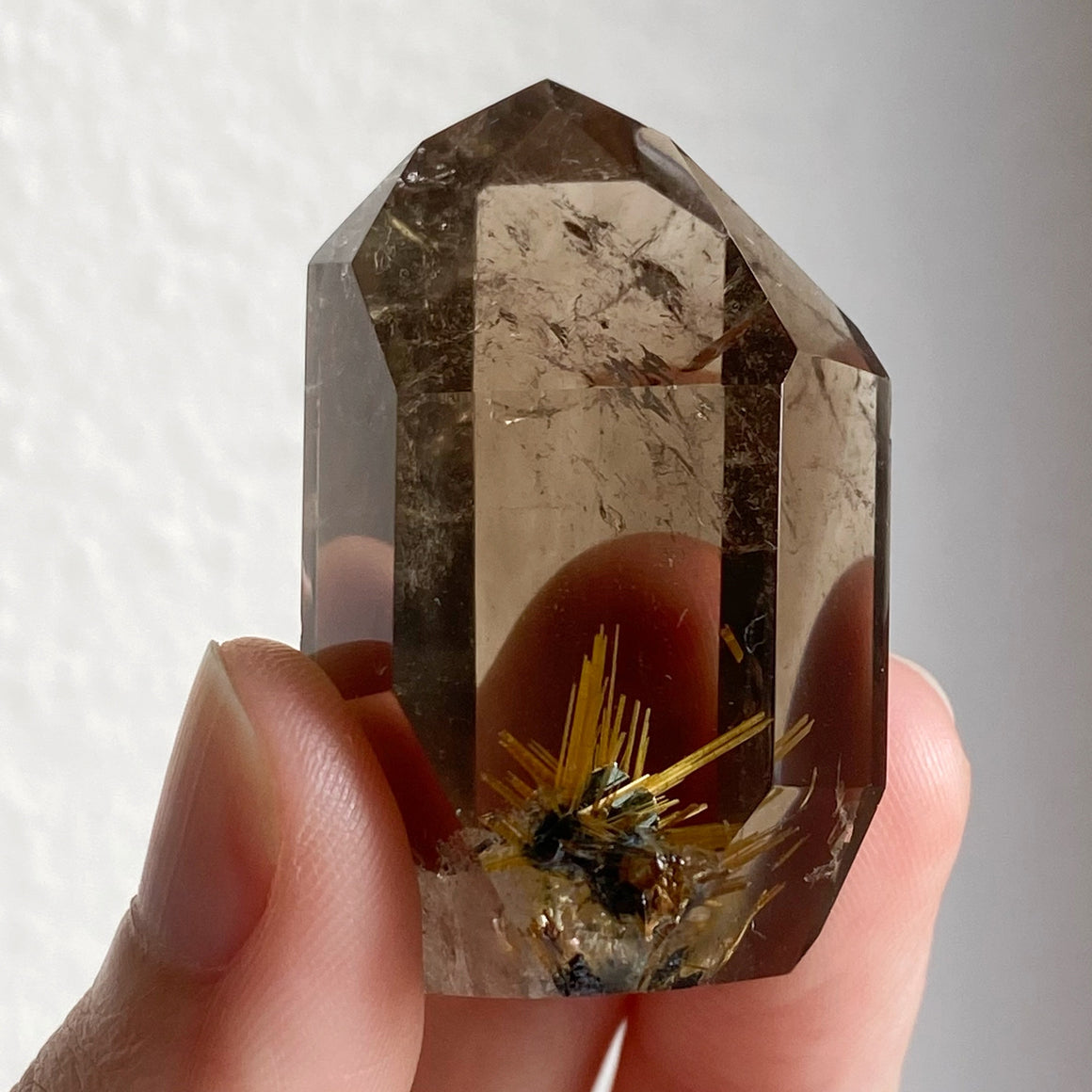 Golden Rutile in Smoky Quartz Point RQP64
