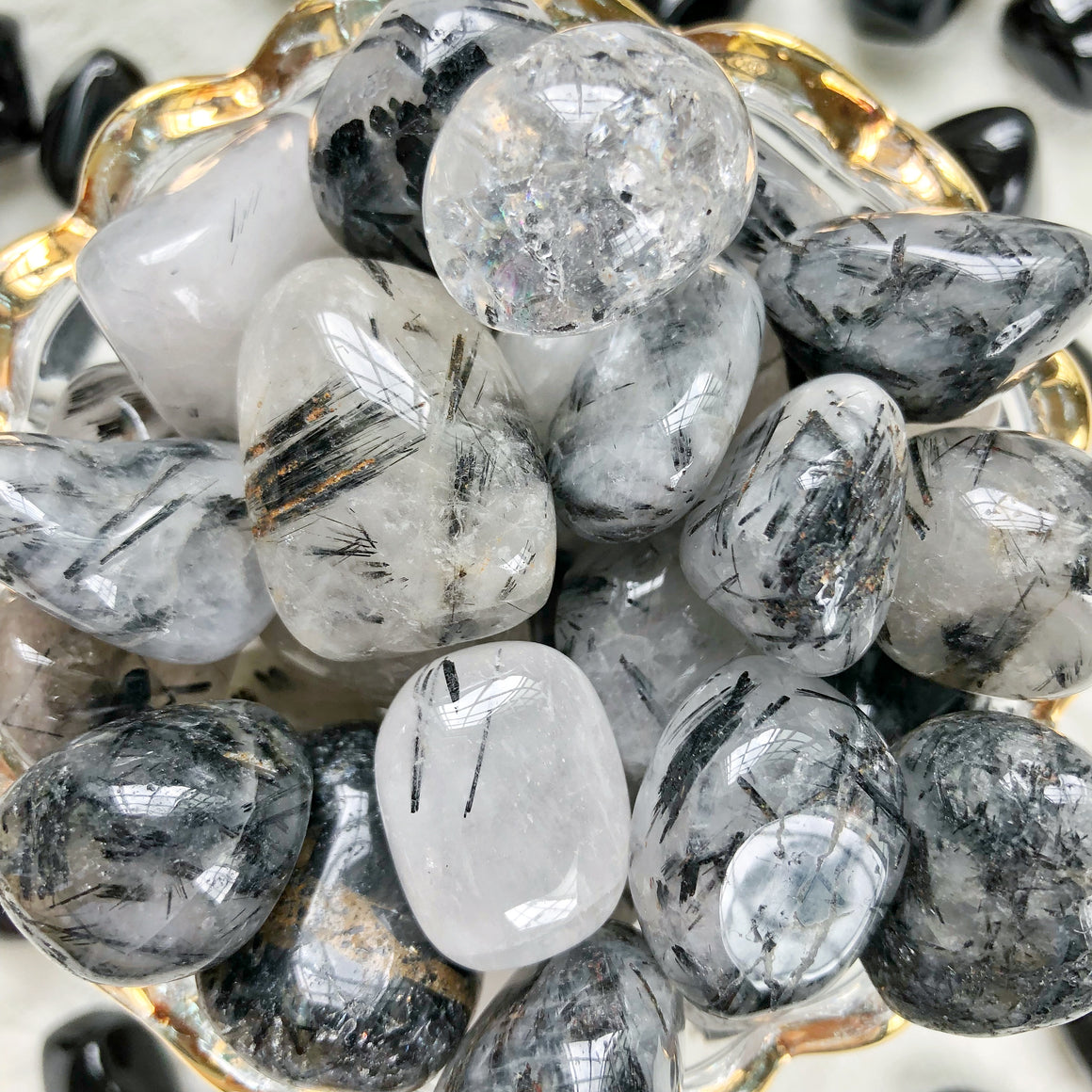 Tourmalinated Quartz Tumbled Stones