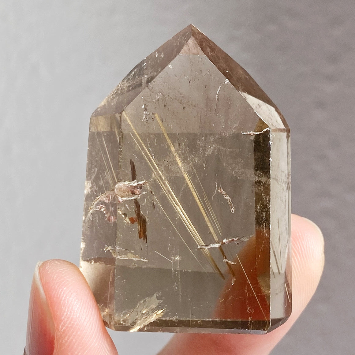Golden Rutile in Smoky Quartz Point RQP81