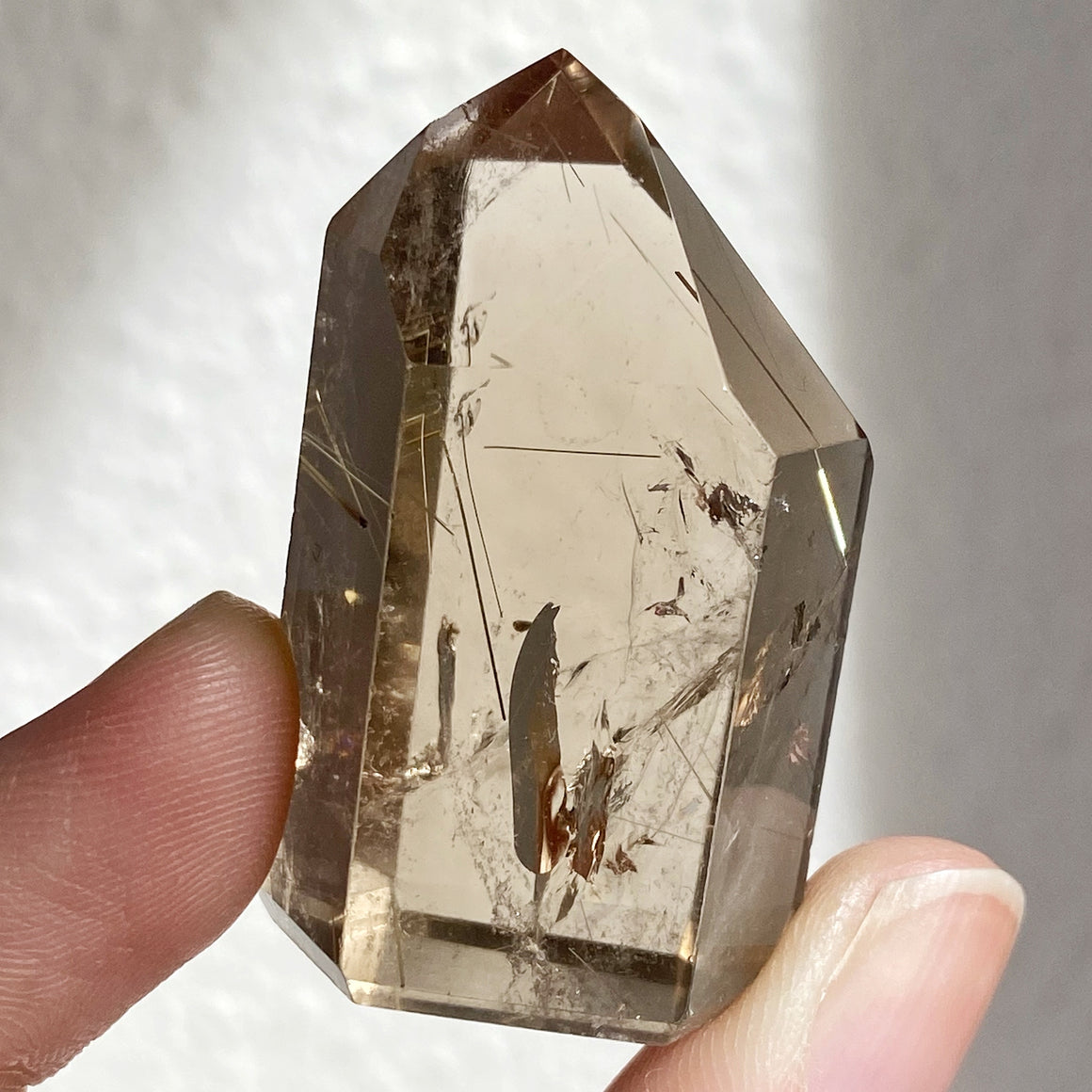 Golden Rutile in Smoky Quartz Point RQP87
