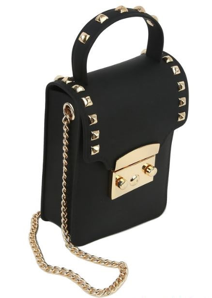 Matte Studded Crossbody- Black