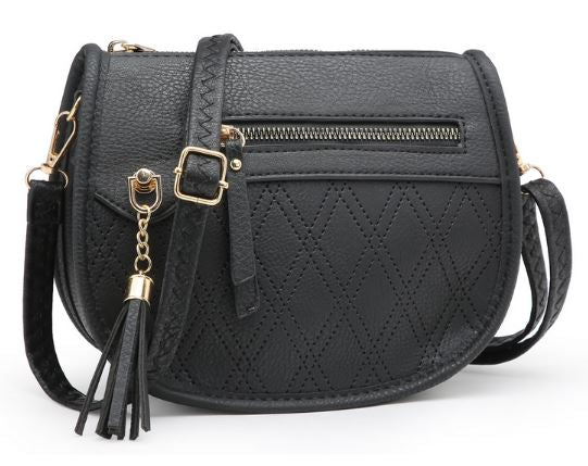 Embossed Tassel Crossbody- Black