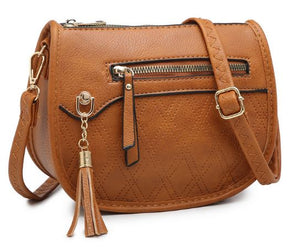 Embossed Tassel Crossbody- Brown