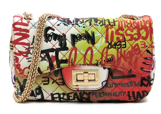 Graffiti Quilt Pattern Shoulder Bag- Red