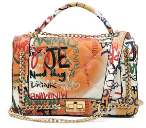 Graffiti Classic Shoulder Bag- Tan