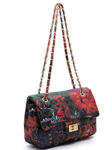 Graffiti Print Versatile Bag- Black