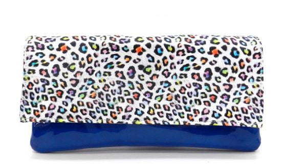 Leopard Printed Blue Patent Leather Clutch